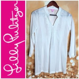 Beautiful White Lilly Pulitzer Embellished Top